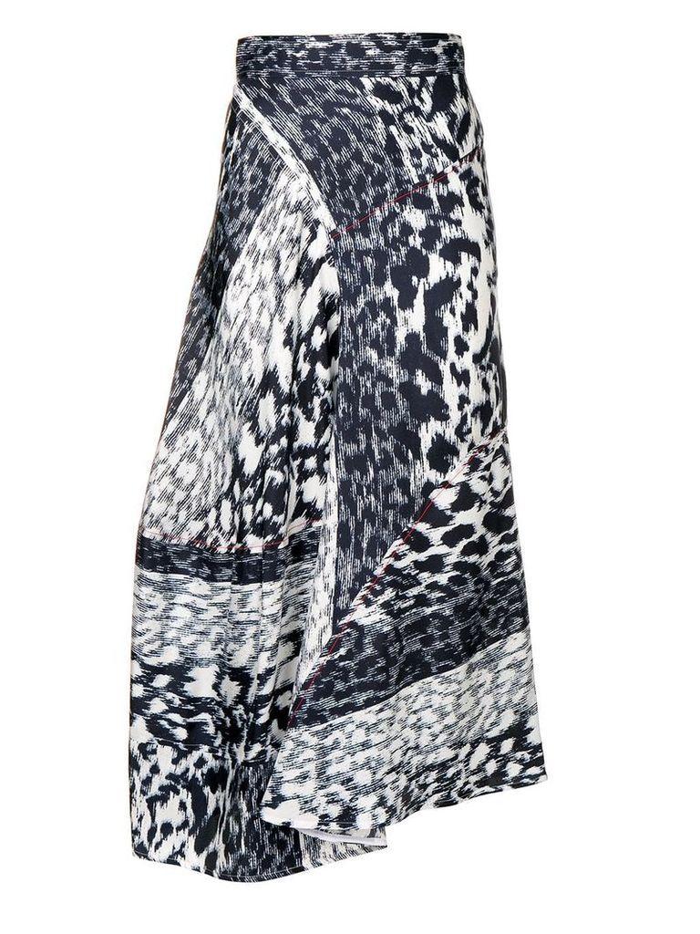 Victoria Beckham leopard print midi skirt - Blue