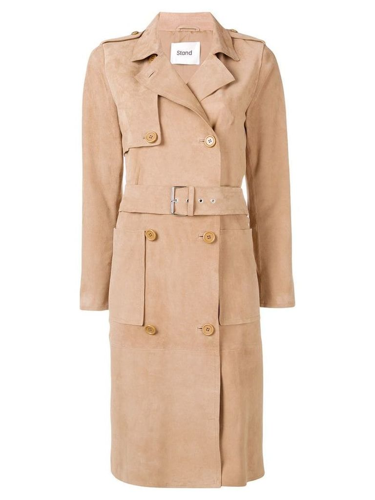 Stand belted trench coat - Neutrals