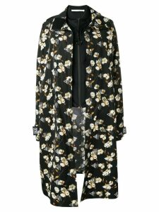Off-White floral oversized overcoat - Black