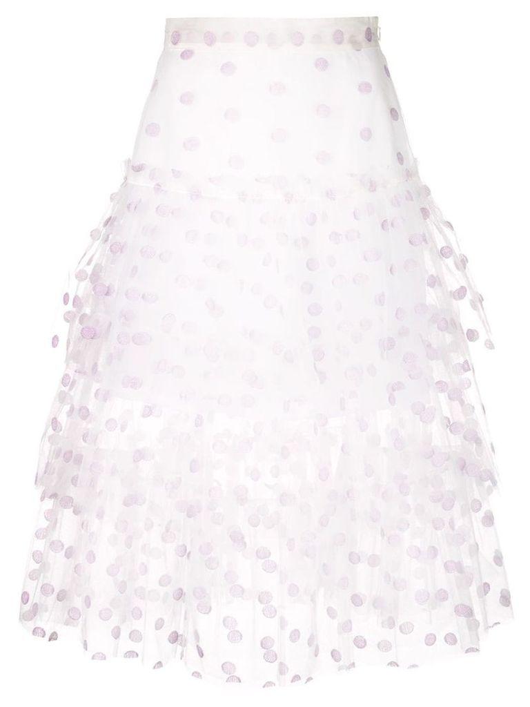 Jill Stuart tiered polka dot skirt - White