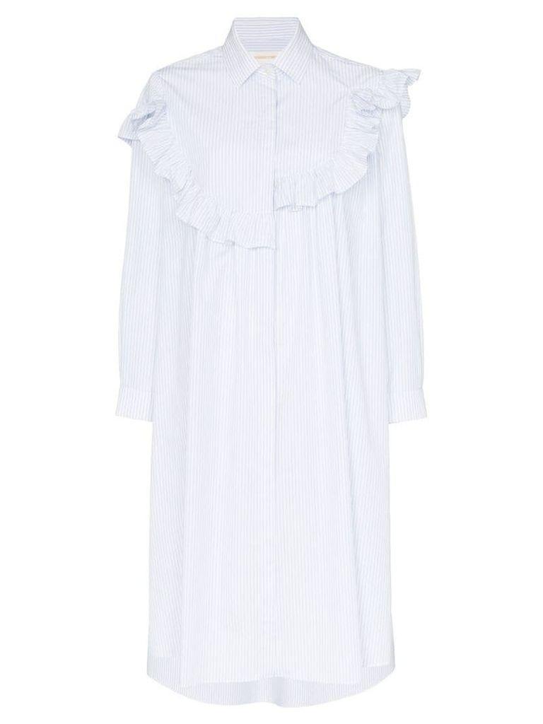 Shushu/Tong bib front stripe cotton shirt dress - Blue