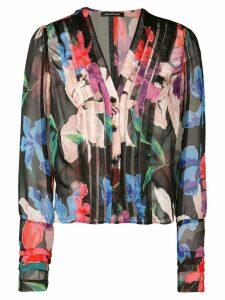 Jill Stuart panelled floral print blouse - Black