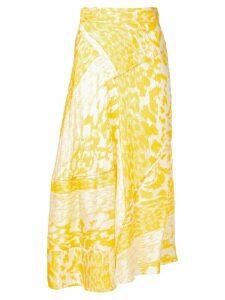 Victoria Beckham leopard print midi skirt - Yellow
