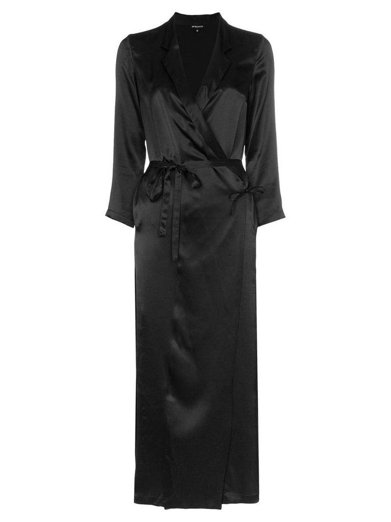 Ann Demeulemeester silk midi wrap dress - Black