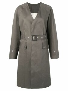 Mackintosh Taupe Bonded Cotton V-Neck Coat LR-096 - Grey