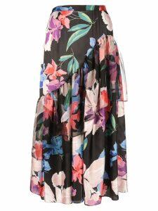 Jill Stuart floral print drape skirt - Black