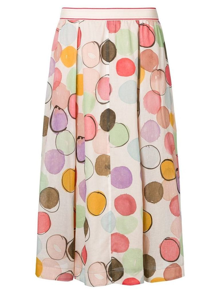 Luisa Cerano polka dot pleated skirt - Neutrals