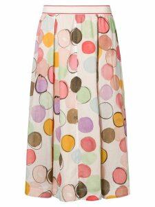 Luisa Cerano polka dot pleated skirt - Neutrals