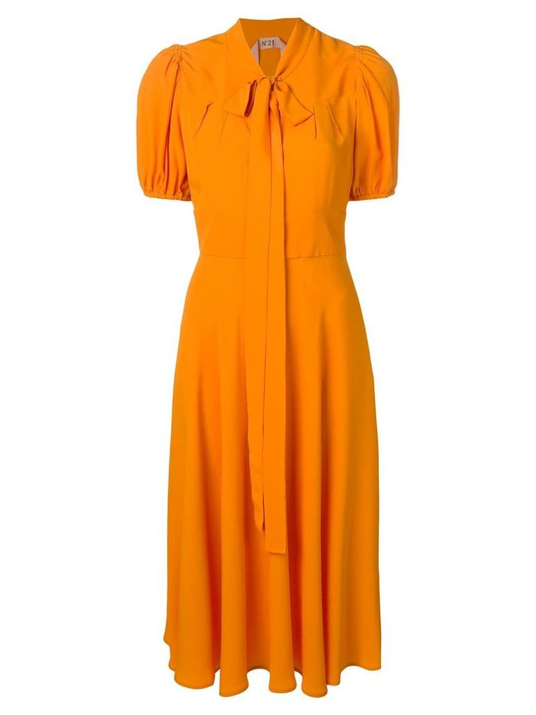 Nº21 pussy bow midi dress - Orange