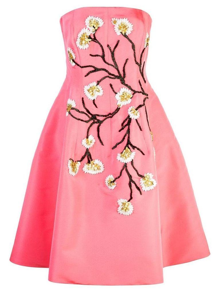 Oscar de la Renta Spring Tree embroidered dress - Pink