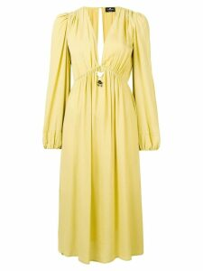 Elisabetta Franchi V-neck midi dress - Yellow