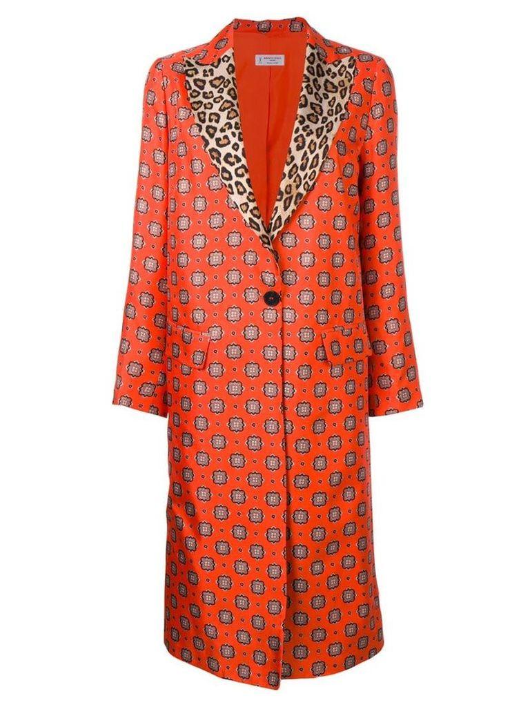 Alberto Biani contrast collar printed coat - Orange
