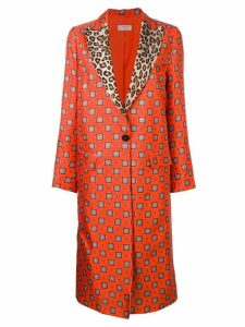 Alberto Biani contrast collar printed coat - Orange