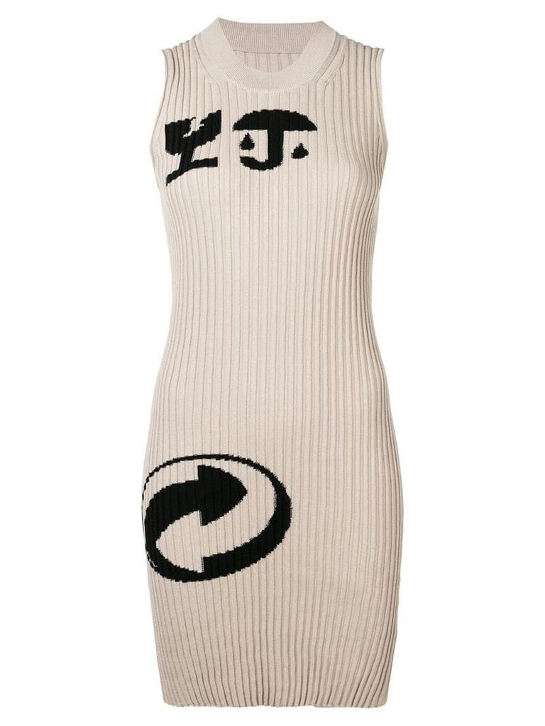 Maison Margiela cartoon-print ribbed dress - Neutrals