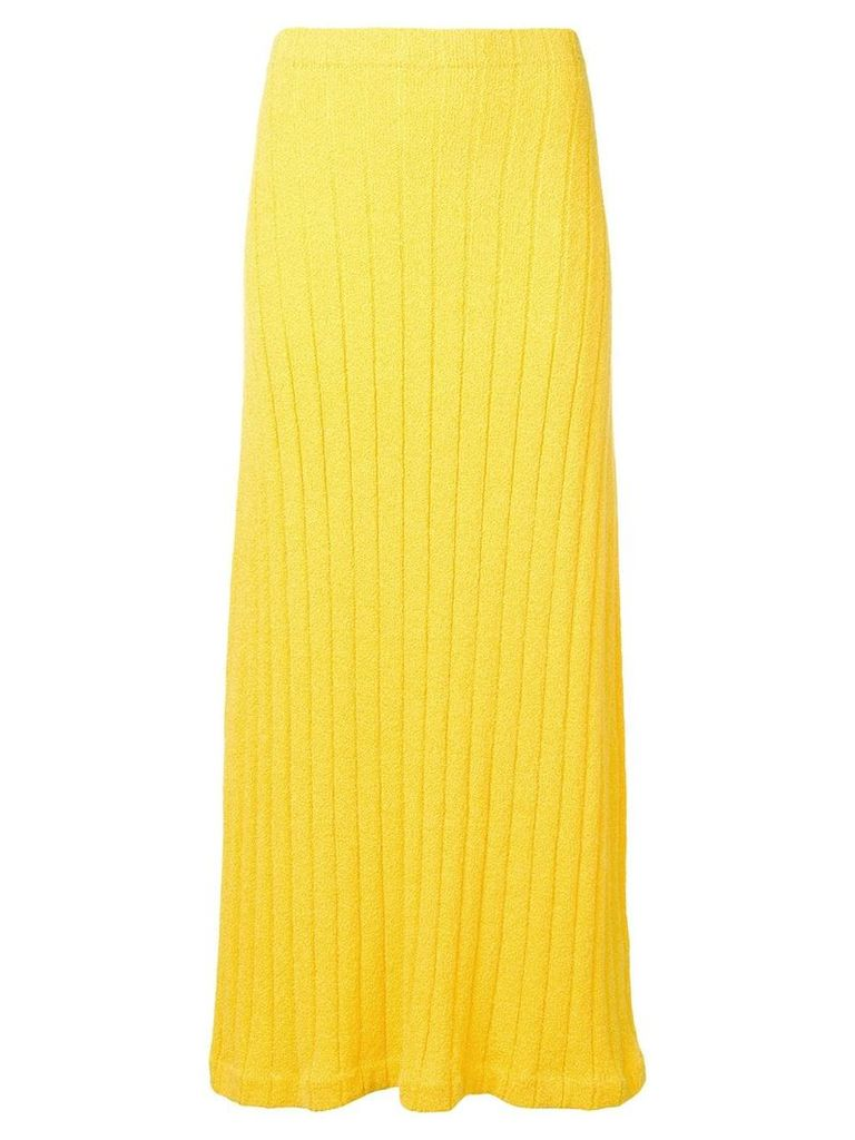 Jil Sander ribbed midi skirt - Yellow