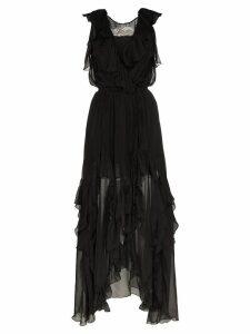 Faith Connexion ruffle detail silk wrap dress - Black