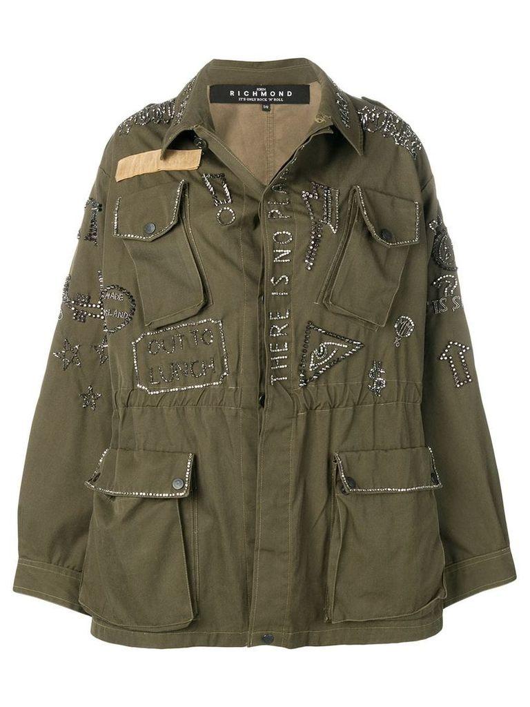 John Richmond embellished parka coat - Green