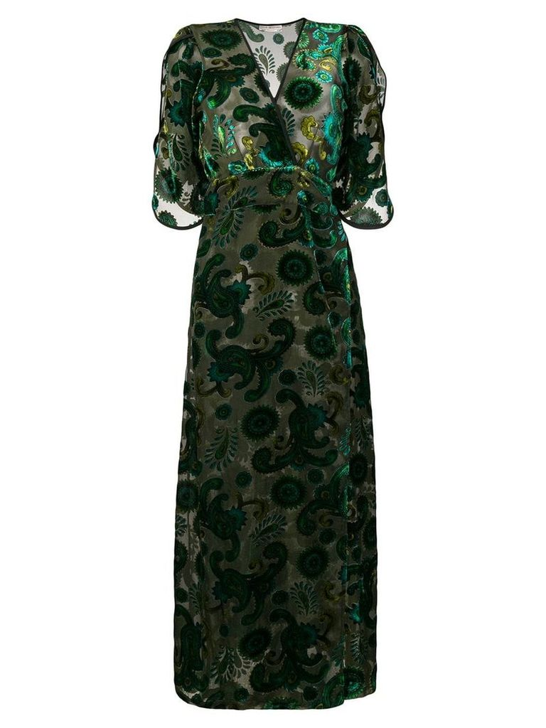 Jessie Western velvet wrap dress - Green