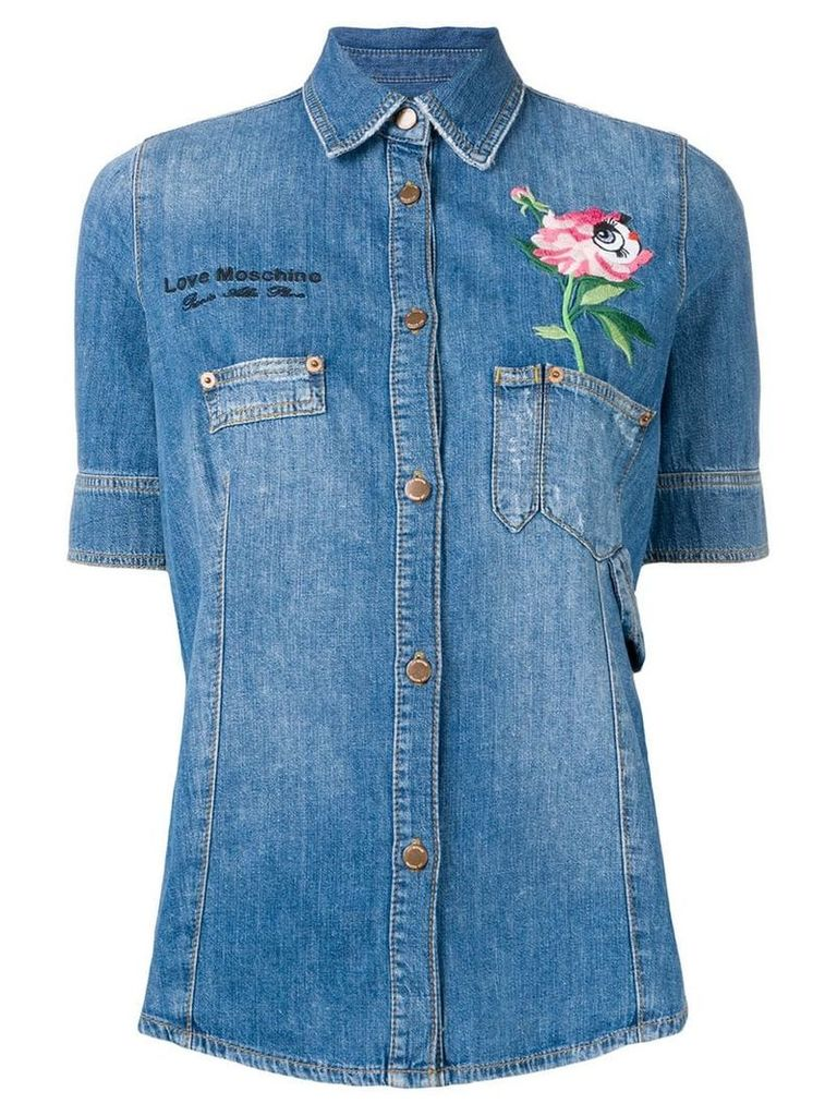 Love Moschino floral embroidered denim shirt - Blue