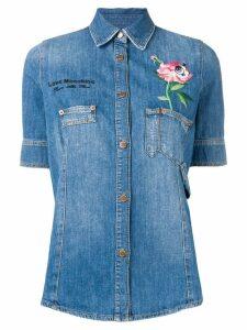 Love Moschino floral embroidered denim shirt - Blue