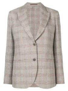 Eleventy check button blazer - Brown