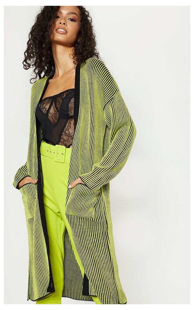 Lime Two Tone Knitted Cardigan, Green