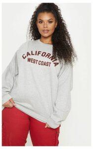 Plus Grey Marl California Oversized Sweater, Grey