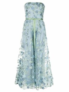 Marchesa Notte floral embroidered strapless gown - Blue