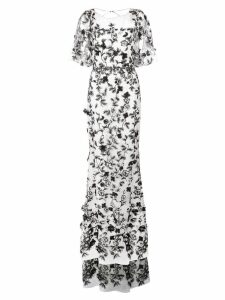 Marchesa Notte floral embroidered gown - White