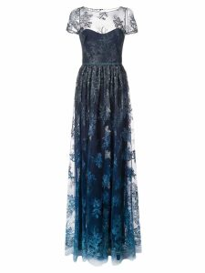 Marchesa Notte sheer floral embroidered gown - Blue