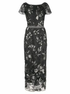 Marchesa Notte metallic beaded evening dress - Black