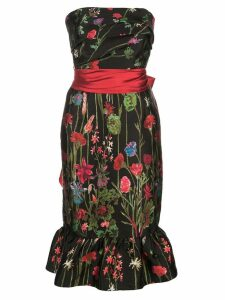 Marchesa Notte floral print bandeau dress - Black