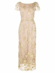 Marchesa Notte floral embroidered evening dress - Gold