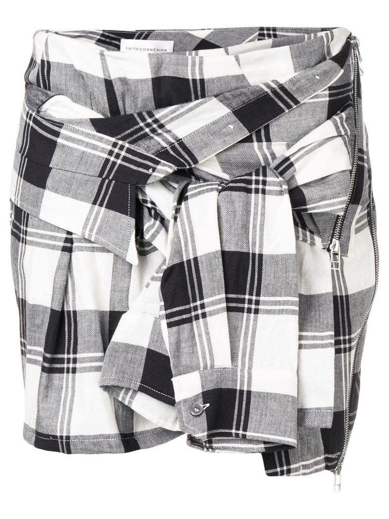Faith Connexion check shirt-sleeve skirt - Black