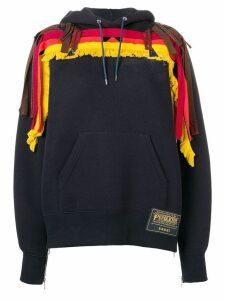 Sacai fringe detail hoodie - Blue