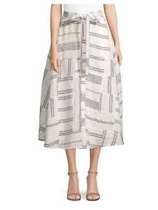Patchwork Linen Mid Skirt