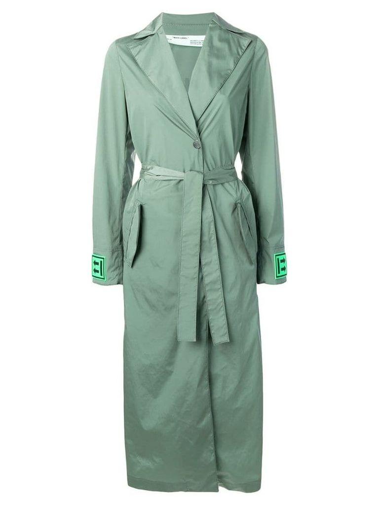 Off-White logo print trench coat - Green
