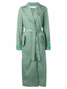 Off-White logo print trench coat - Green