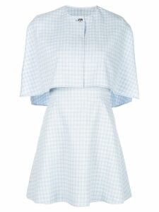 Sara Battaglia cape style mini dress - Blue