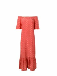 Asceno off-shoulder polka dot dress - Red