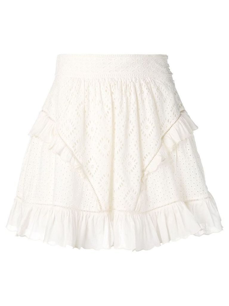 Twin-Set Broderie Anglaise Cotton Full Skirt - White