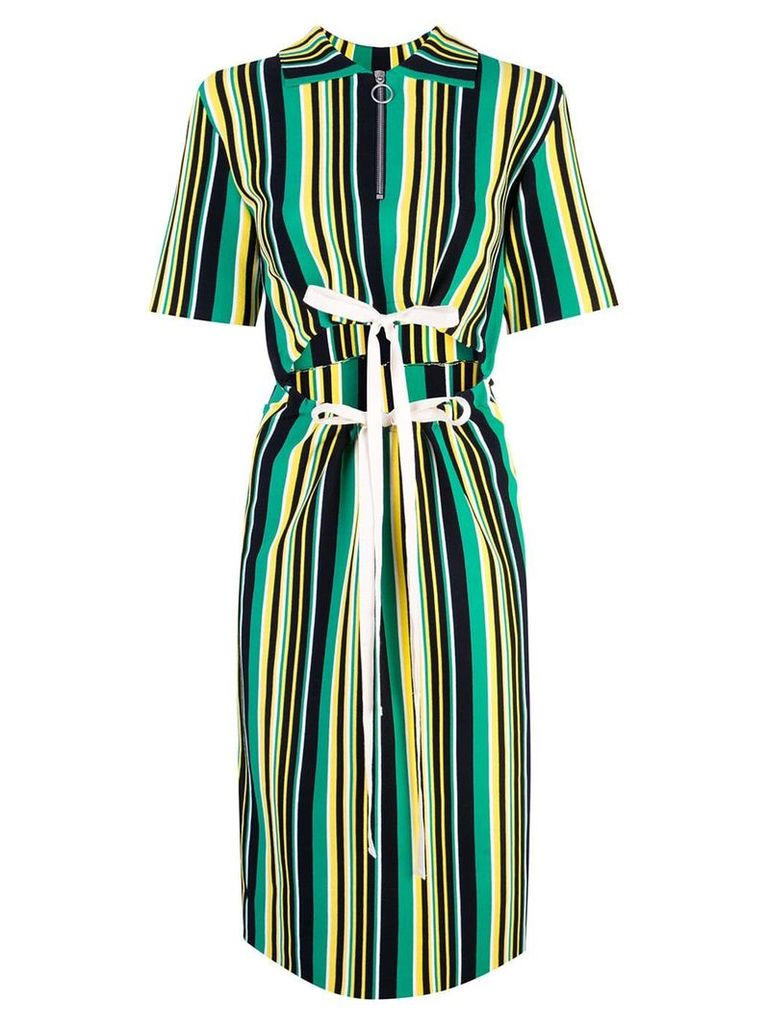 Proenza Schouler Striped Knit Cut Out Dress - Green