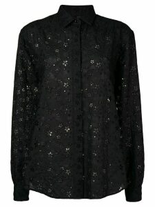 Saint Laurent floral crochet embroidered shirt - Black