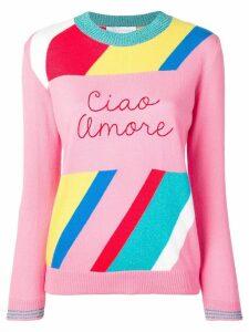 Giada Benincasa striped 'ciao amore' jumper - Pink