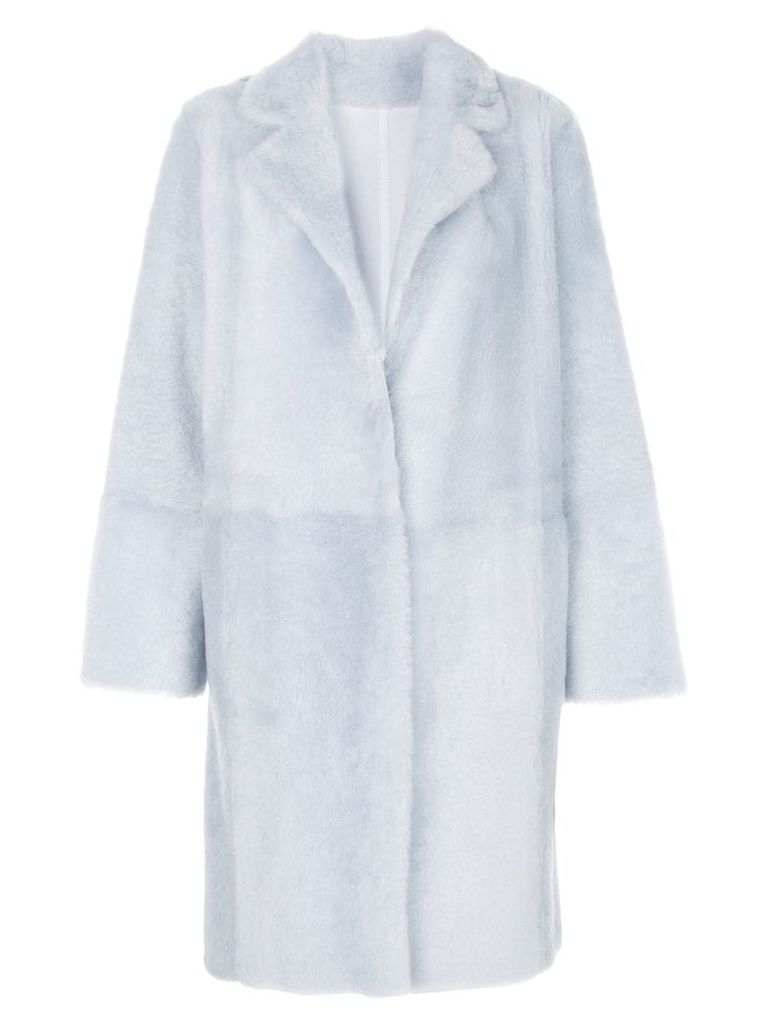 Yves Salomon faux-fur overcoat - Blue