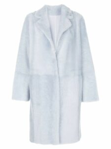 Yves Salomon faux-fur overcoat - Blue