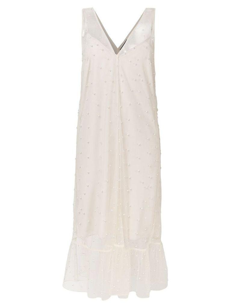 Rokh pearl-embellished midi dress - Neutrals