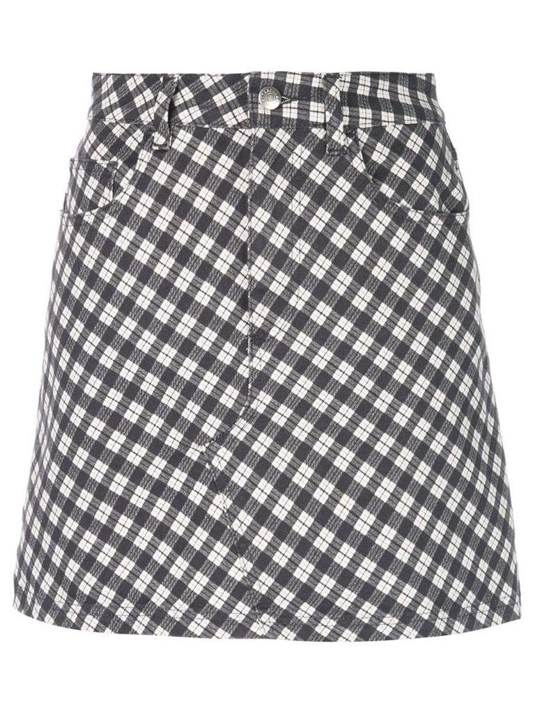 Alexa Chung checked denim skirt - Black