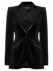 Dolce & Gabbana satin trim fitted velvet blazer jacket - Black