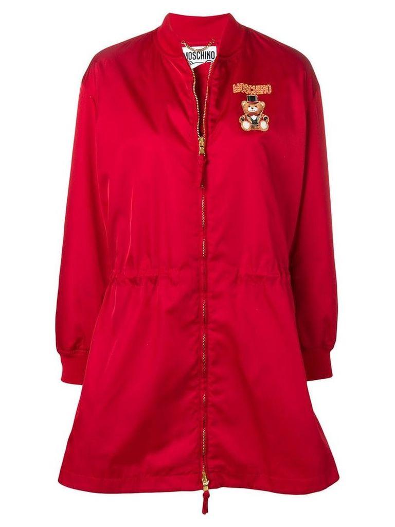 Moschino teddy circus zipped raincoat - Red